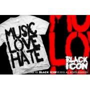 hardcore póló férfi - Music, Love - BLACK ICON - MICON103