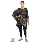 Black Tie Dye Poncho Caftan Tunic Topper Beach Coverup