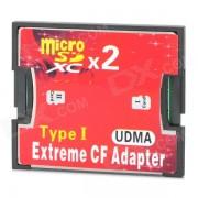 A1 Dual Micro SD / TF a CF de alta velocidad SDXC tarjeta de Adaptacion - Rojo + Negro (2 TB)