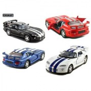 Set of 4: 5 Dodge Viper GTSR 1:36 Scale (Black/Blue/Red/White) by Kinsmart
