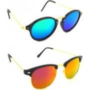Hrinkar Round Sunglasses(Blue, Green, Pink)