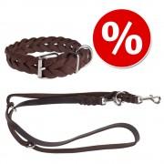 Set Heim: collar + correa de cuero trenzado - Set 1: Collar T40: 26-37 cm + correa 2 m