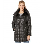 Kenneth Cole New York Zip Front Quilted Puffer w Faux Fur Trimmed Collar Black