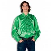 Luxe heren rouche overhemd groene