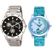 Luxury Black Dial Metal Belt And Green Peacock Couple Casual SCK Analogue Wrist Watch By Google Hub