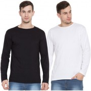 Cliths Black And White Round Neck Tshirts For Men/ Set Of 2 Tshirt For Mens Full Sleeve