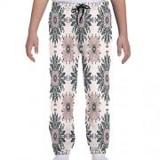 GULTMEE Pantalones de chándal para jóvenes, Adorno étnico Colorido de Flores de Cardo con Hojas curvadas y Tallos Impresos, S-XL, de colores1, Large