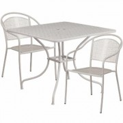 Flash Furniture 35 1/2Inch Square Metal Patio Table Set with 2 Round Back Chairs - Light Gray, Model CO35SQ03CHR2SV