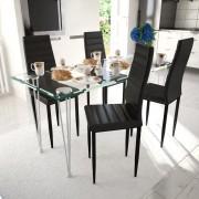 vidaXL Set 4 scaune de culoare neagră și masă sticlă