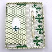 Rubinato mintás jegyzettömb tollal - zöld