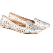 TEN TEN Women's Silver Moccasin Casual Shoes For Women(Silver)
