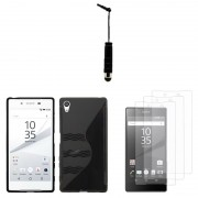 Sony Xperia Z5 E6603 E6653/ Z5 Dual E6633 E6683: Lot 5 Accessoires Etui Housse Pochette Coque Silicone Gel S Line - Noir