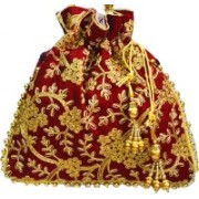 AyA Fashion Designer Royal Ethnic Clutch Silk Potli Batwa Bag with Beads Work|Hand embrodired Design|Rajasthani Potli(Maroon)