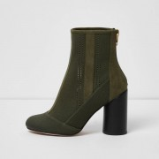 River Island Womens Khaki green knitted ankle boots