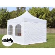 3x3m összecsukható pavilon ablakos fehér Prémium (Premium)