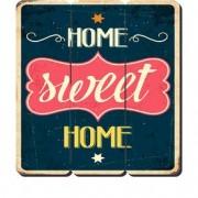 Placa Decorativa em MDF Ripado Home Sweet Home Lar doce Lar
