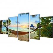vidaXL Políptico impressão praia de areia com rede 200 x 100 cm