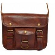 "echo 9""Pure Genuine Leather Handmade Satchel Messenger Laptop Unisex Shoulder bag Real Brown Briefcase cross body leather bag daily use. Messenger Bag(Brown, 9 L)"