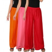 Culture the Dignity Women's Rayon Solid Palazzo Pants Palazzo Trousers Combo of 3 - Orange - Baby Pink - Red - C_RPZ_OP2R - Pack of 3 - Free Size