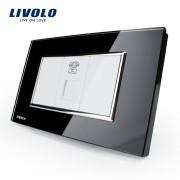 Priza Telefon Livolo cu rama din sticla - standard italian, negru