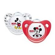 Mickey & minnie chupeta em silicone 6-18meses vermelha e branca 2unidades - Nuk