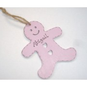 Personalised gingerbread man shaped christmas decoration