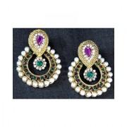Purple stone pearl polki earring