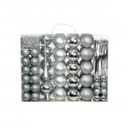 vidaXL Комплект коледни топки от 113 части, 6 см, сребро