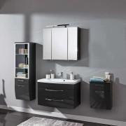 Badezimmer Komplettset in Anthrazit Hochglanz hängend (4-teilig)