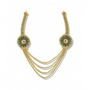 Zaveri Pearls Multistring Antique Gold Balls Haram with brooches on either side - ZPFK5199
