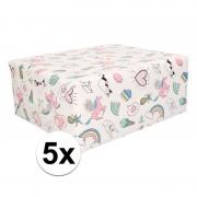 Shoppartners 5 rollen kado inpakpapier met eenhoorn print van 50 x 500 cm