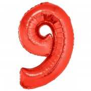 9. szám, fólia lufi, 102 cm, piros
