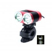 1800lm 4-Modo Lámpara De Luz Blanca 2-LED De Bicicletas Rojo Y Negro (4 X18650)