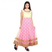 Stuties Women Anarkali net hand work in Neck line and embroidery work with Chanderi Silk lining Readymade salwar kameezO9419XL Pink