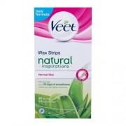 Veet Natural Inspirations Wax Strips Normal Skin 20 ks depilačné pásiky s aloe vera na normálnu pokožku pre ženy