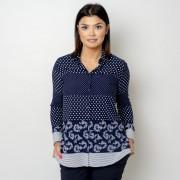 Női fehér sötét kék ing Willsoor pöttyös 10769