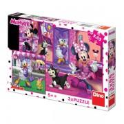 Puzzle 3 in 1 Distractie cu Minnie si Daisy, 3 x 55 piese, 5-8 ani