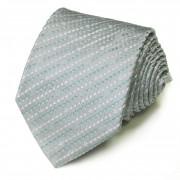 Светло-серый галстук в полосочку бирюзового и белого цветов Celine 825936