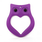 Baby Teething Toy, Adorable Owl Ring Design Teether, Best for Sore Gums Pain Relief, Perfect Baby Gift,BPA-Free FDA Approved Food Grade Silicone (Purple) by Amazleer