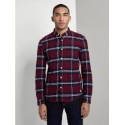 TOM TAILOR DENIM Flanellen overhemd, Heren, burgund navy check, M
