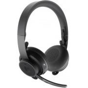 Casti Stereo Logitech Zone Wireless Plus, USB + Bluetooth, ANC, incarcare wireless Qi (Negru)