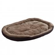 [en.casa]® Cama para mascotas - cama para perros - con cojín reversible - tejido Oxford / Algodón-PP - 150 x 120 x 23 cm [XXL] - Marrón oscuro / Marrón claro