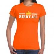 Shoppartners Oranje Biertje en kroon shirt dames
