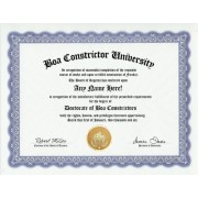 Boa Constrictor Degree: Custom Gag Diploma Doctorate Certificate (Funny Customized Joke Gift - Novelty Item)