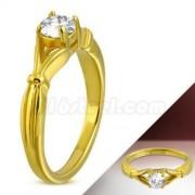 Arany színű nemesacél eljegyzési gyűrű cirkónia kővel-6