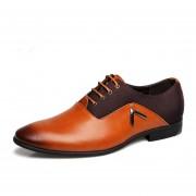 Mocasines Zapatos Vestir Ecocuero Casual Hombre -Marrón Claro