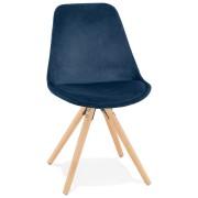 Vintage 'RICKY' stoel in blauw fluweel met poten in natuurlijk hout