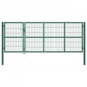 vidaXL Градинска оградна порта със стълбове 350x120 см стомана зелена