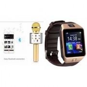 Zemini DZ09 Smartwatch and Q7 Microphone Karrokke and Bluetooth Speaker for SAMSUNG GALAXY S 5 SPORT(DZ09 Smart Watch With 4G Sim Card Memory Card| Q7 Microphone Karrokke and Bluetooth Speaker)