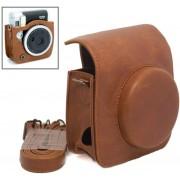 Vintage Retro Case Cover Hoes Voor Fujifilm Instax Mini 90 Neo Classic - Leder bruin